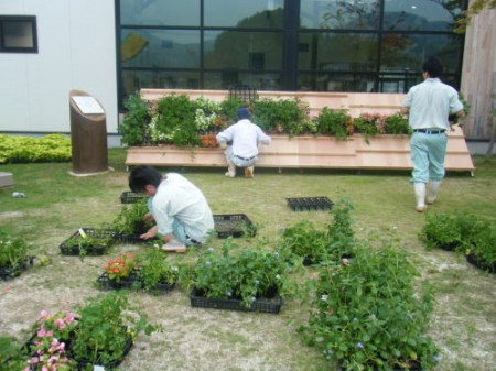 飾りは玖珠農業高校の担当です。生徒が作った花を飾っていきます。